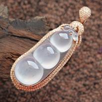 缅甸天然镶金翡翠A货玻璃种翡翠